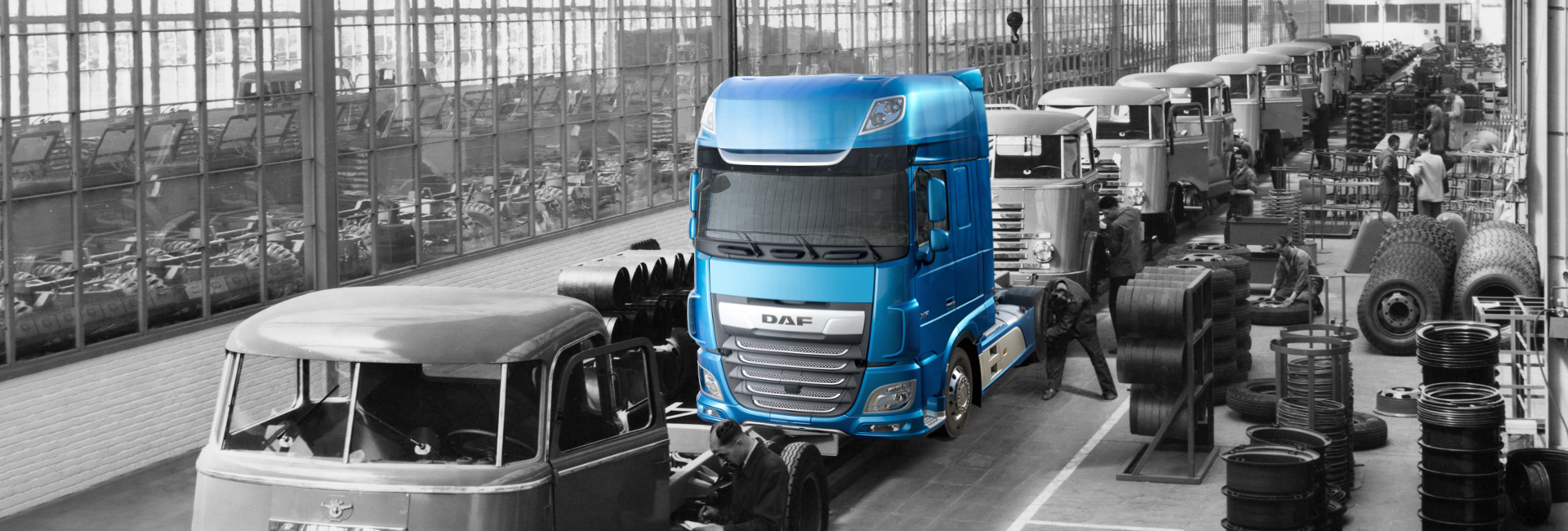 DAF new truck in 1952 factory